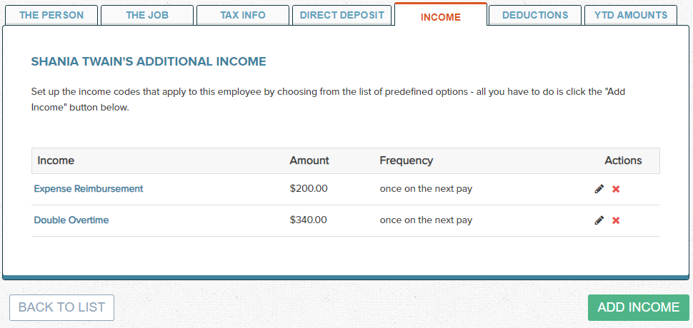 Wagepoint Employee Income Types