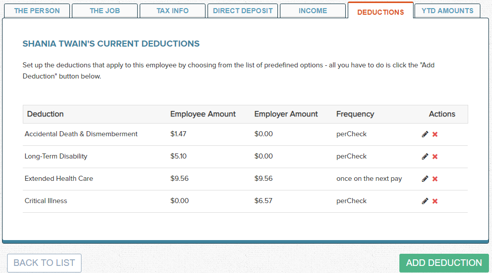 Wagepoint Employee Deductions