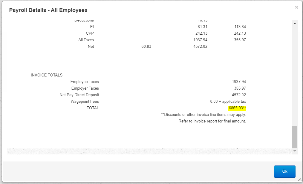 Wagepoint Payroll Details