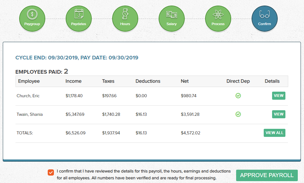 Wagepoint Payroll Approval