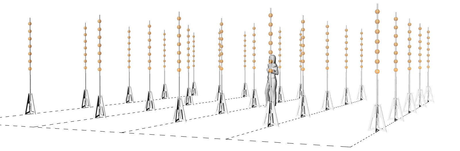 """Each ball in this diagram represents 5 uniquely addressable RGD LED lights. These can be controlled on/off or dimmed to create a range of static and dynamic """"luminous forms"""". Specific points, lines, planes and volumes can be defined within this 3d field."""