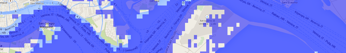 Venice overlaid with water elevation set to 1m above the current sea-level.
