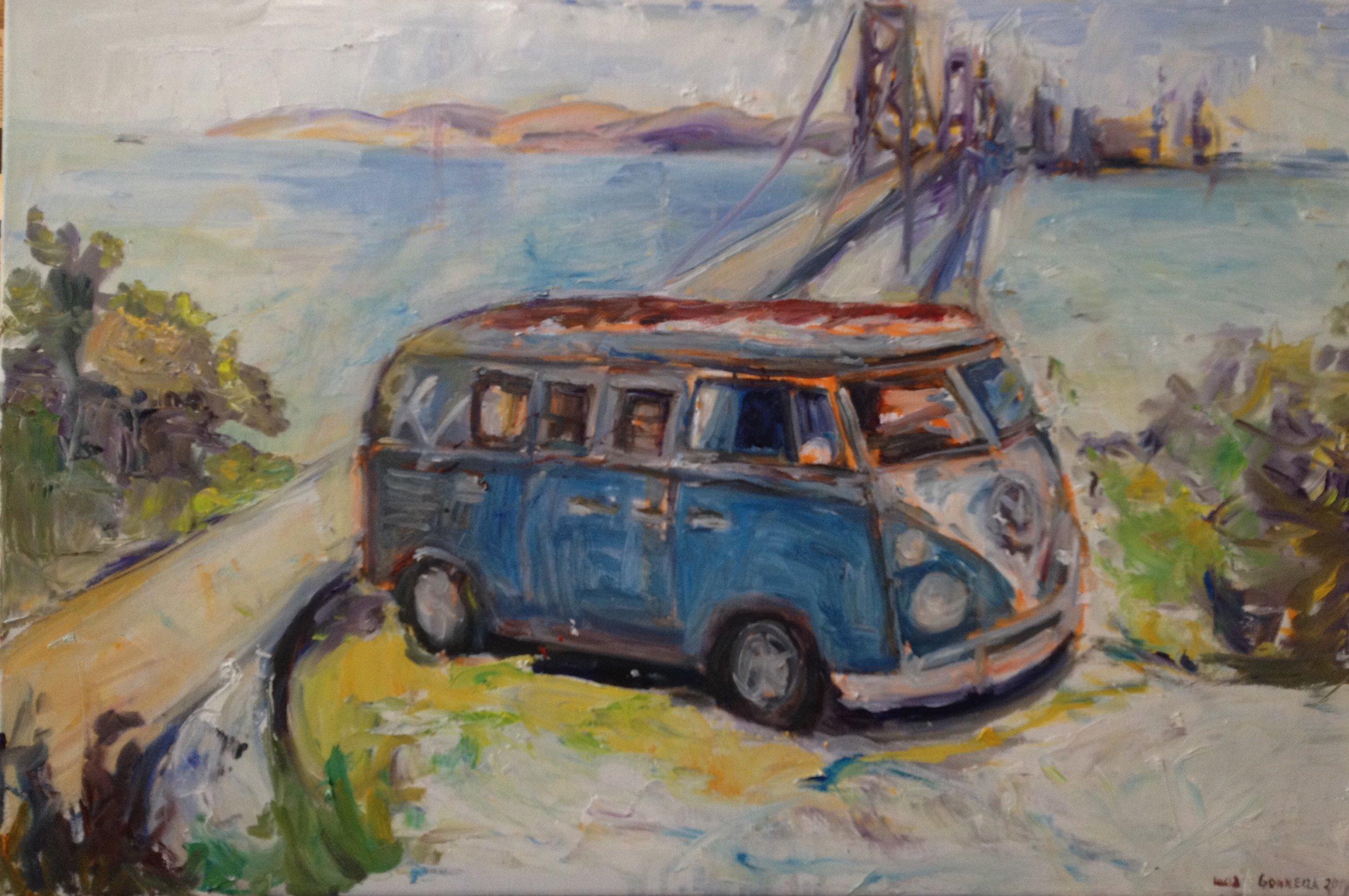 "Vintage Bus  Medium: Oil  Size: 20"" x 30""  2017"