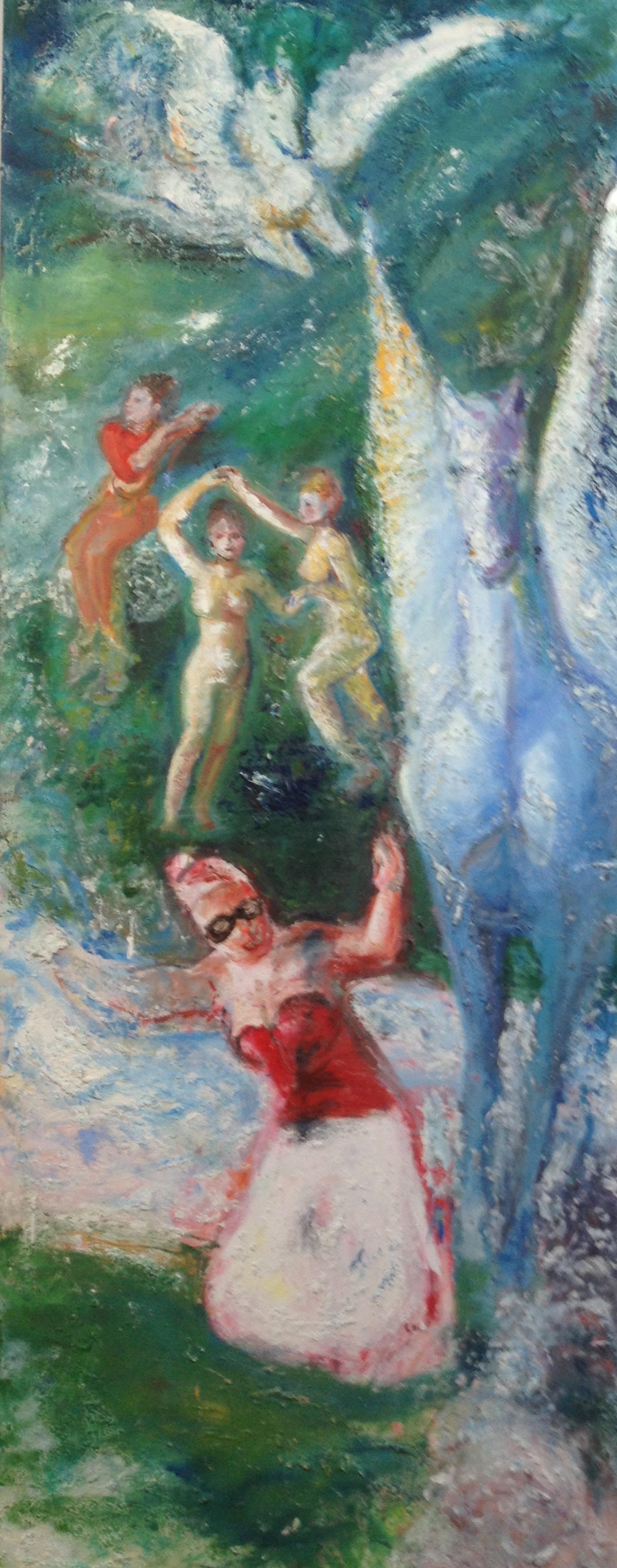 """Pegasus and Muses on Mount Helicon  Medium: Oil and acrylic  Size: 90"""" x 36'  2015"""