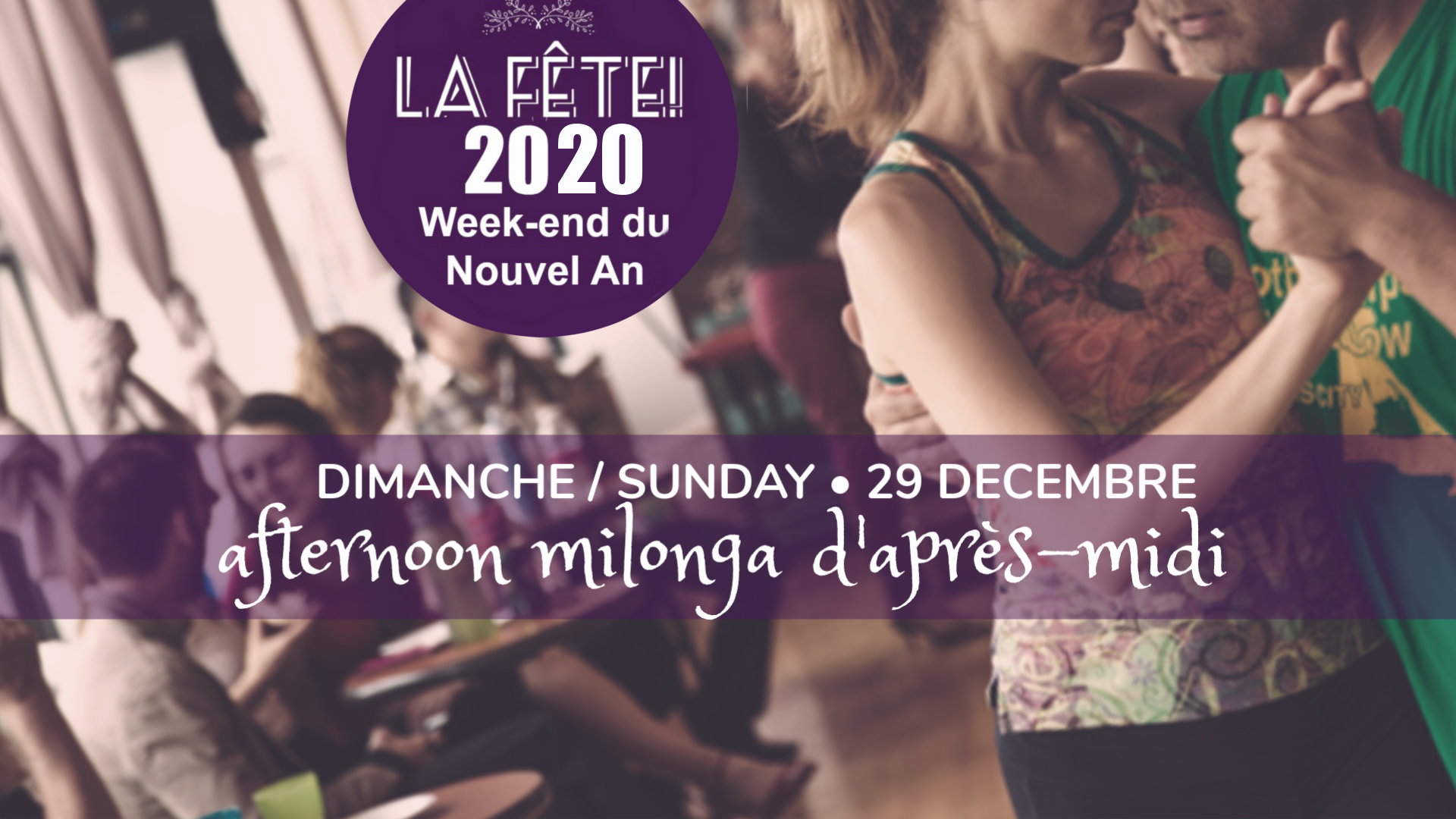 Sunday Daytime Milonga - A Beautiful Afternoon milonga in our room with splendid views of the Park!Coffee and cookies on the house!2:30 pm - 6:30 pm,12$Dj: TBA