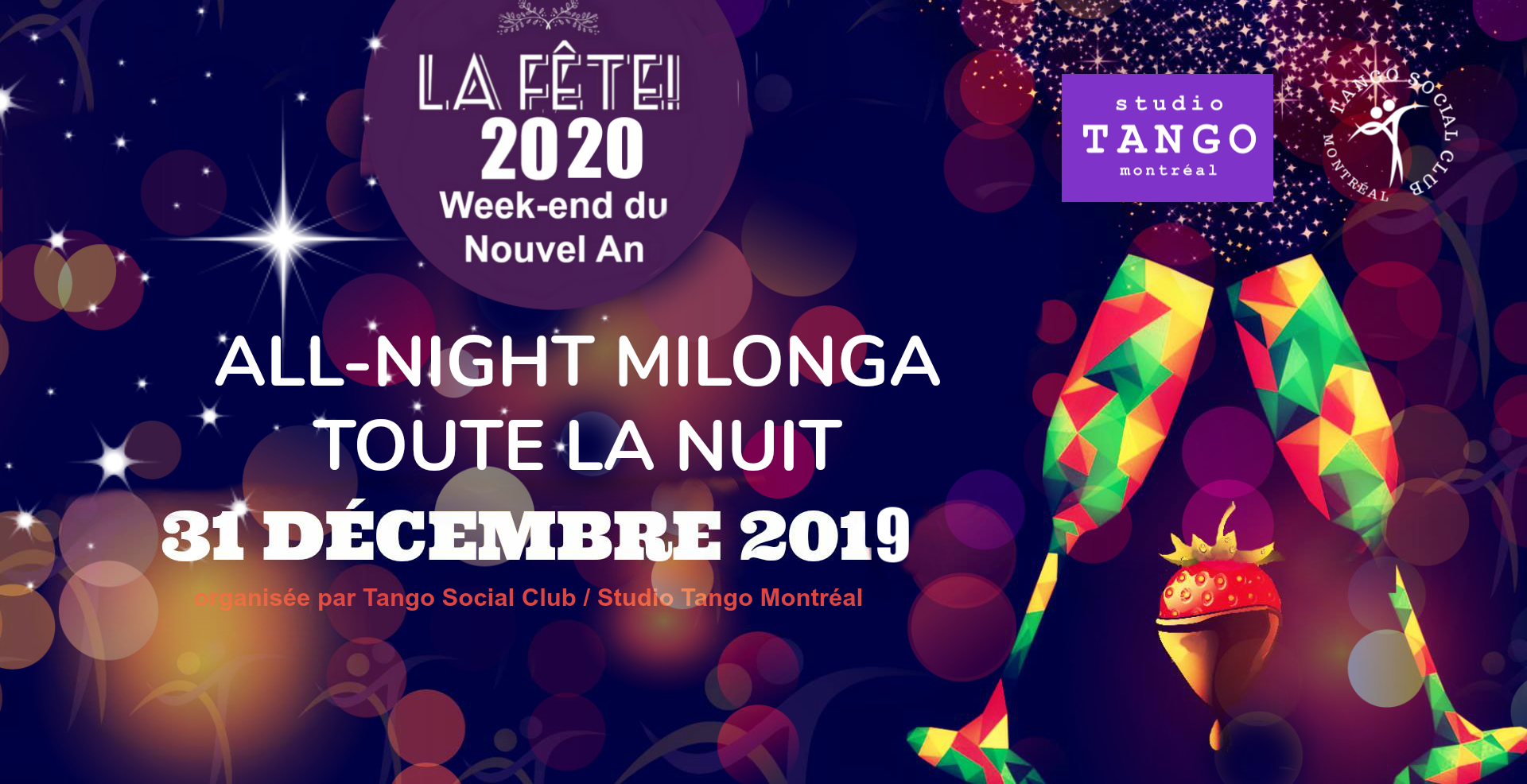 New Year's Eve All-Nighter - Tuesday, Dec 31, 9:00 pm until the wee hours!Same fab duo of dj's as last year and year before: Francis ''Pancho'' Cloutier (Montreal) & Milton ''El Gallo'' Azevedo (Boston), bubbly, chocolate, plus a late night snack-buffet to keep you dancing all-night long. Tickets in advance: 30$At the door: 35$