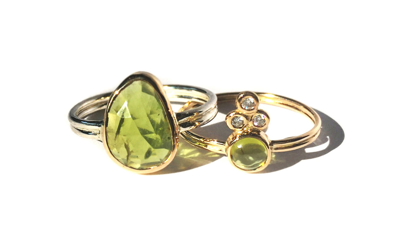 Peridot  double band rings in silver and 14k gold with diamonds
