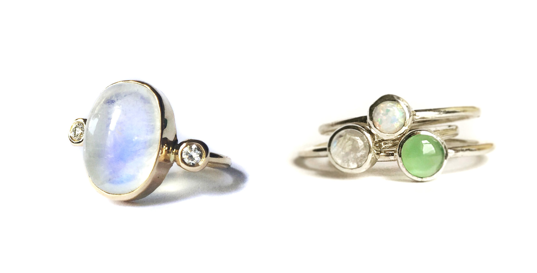 Moonstone cocktail ring in 14k gold with diamonds. Sterling silver stacking rings with opal, moonstone and chrysoprase.