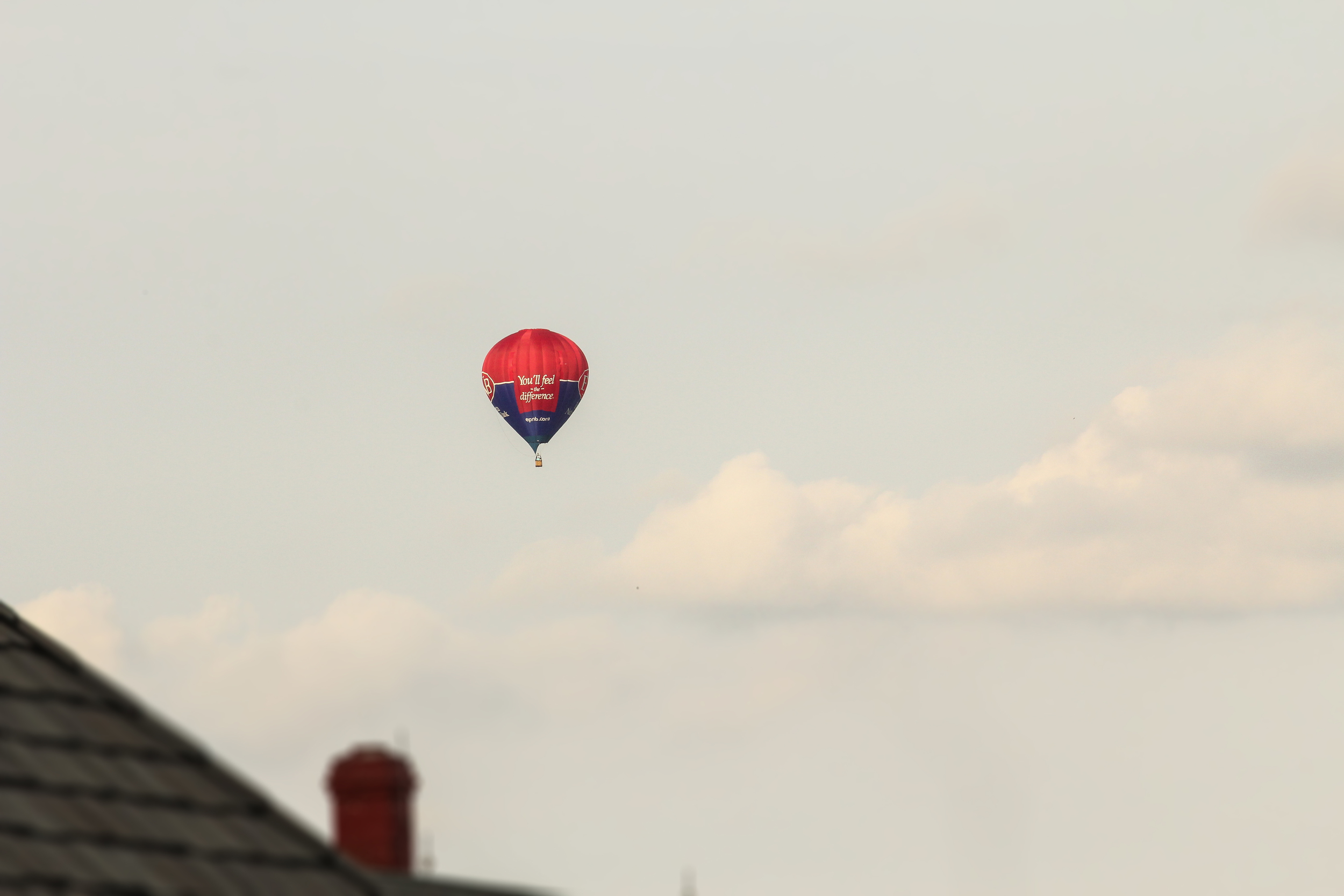 """We made a stop at """"The Good and Plenty"""" restaurant during our stay (kudos for the abundance of food!) during which there were a few hot air balloons that took off. Here is one of the more striking ones."""