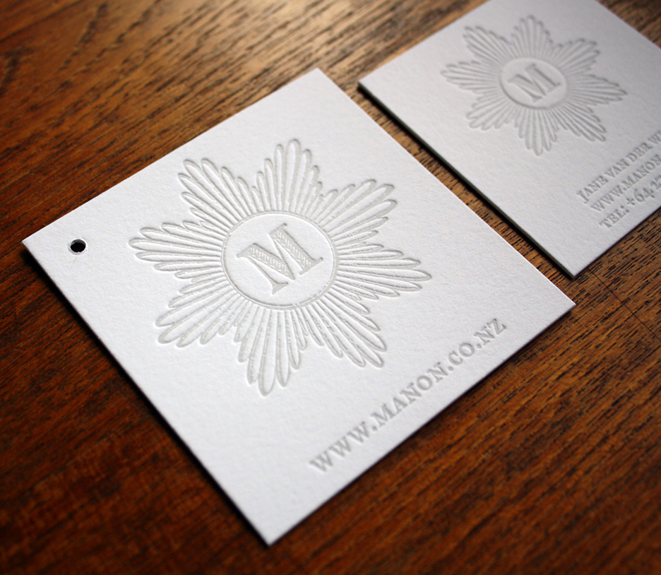 letterpress printed tag