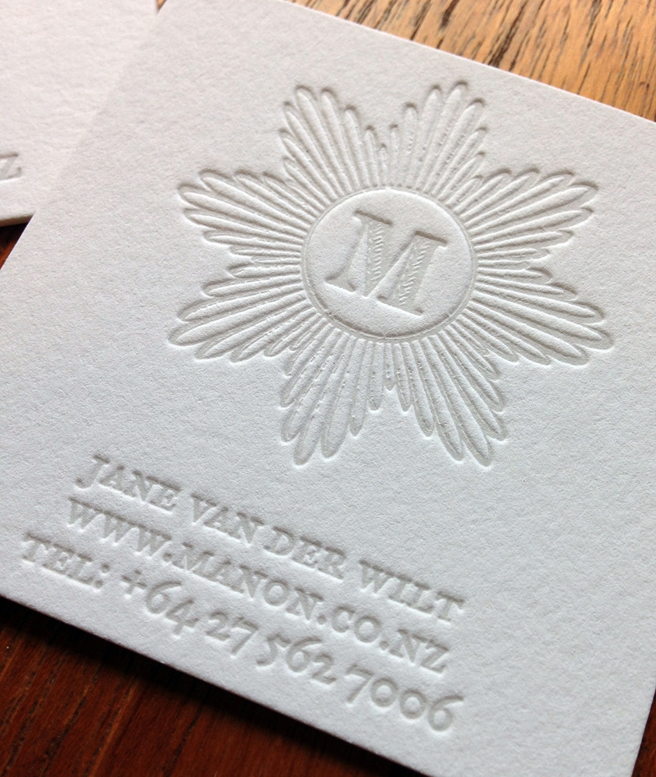 light grey letterpress business card
