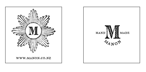 logo design for Manon including rubber stamp secondary logo