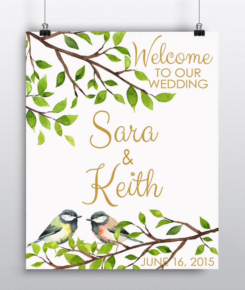 Wedding Welcome sign two birds.jpg