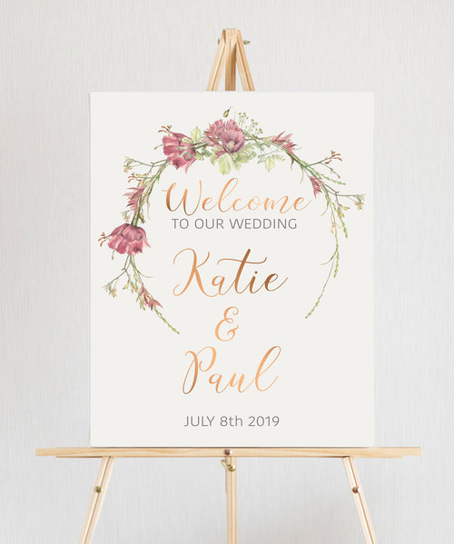 Wedding Welcome Sign.Wedding Sign Rustic Wedding Poppy Wedding Welcome Sign