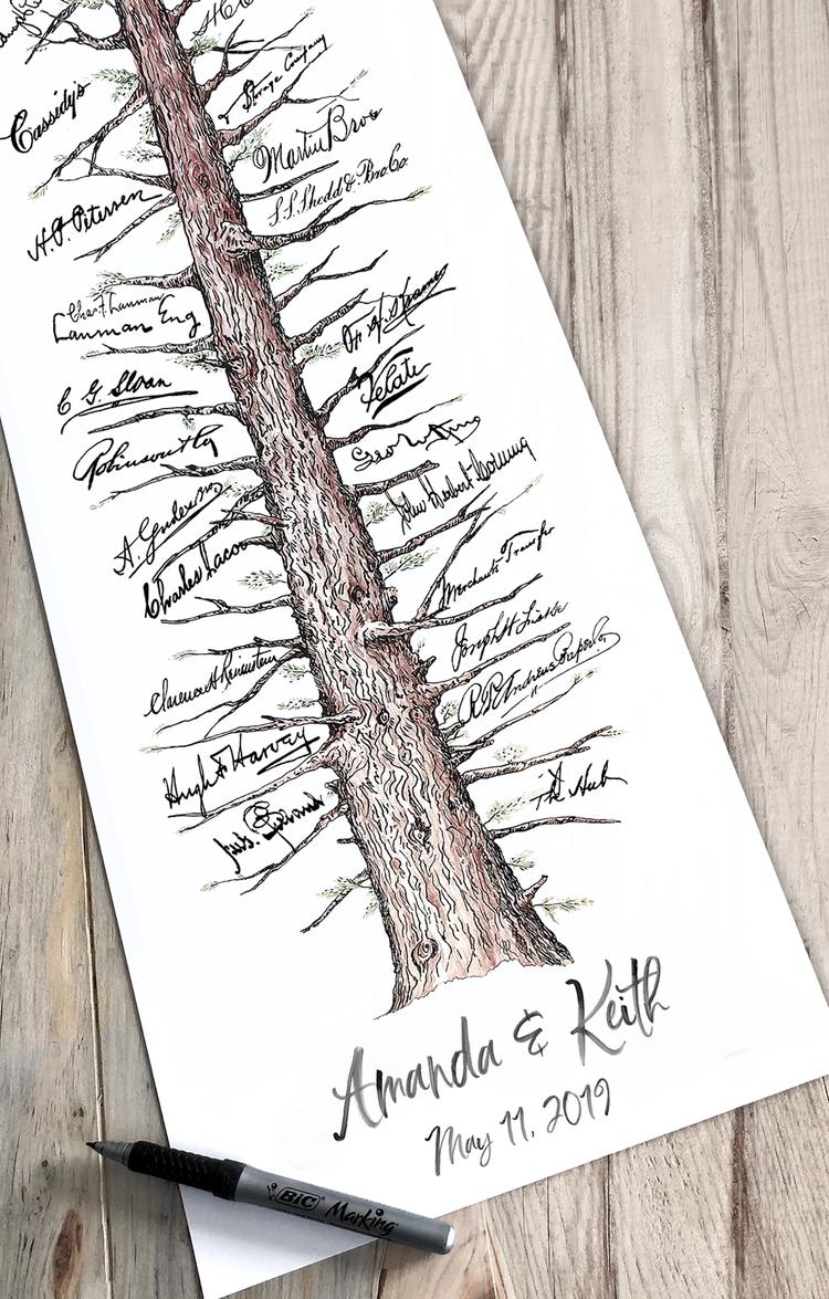 Wedding Guest Book Rustic Guestbook Alternative Redwood Signature Tree Unique