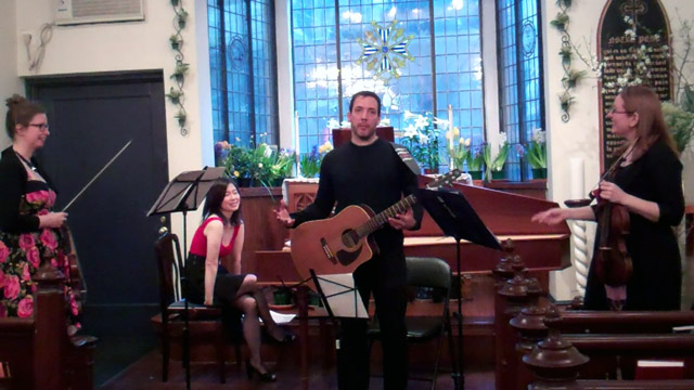 April 12, 2015 concert.  L-R: Marika Holmqvist, Nancy Kito, Rob Paravonian, Claire Smith.