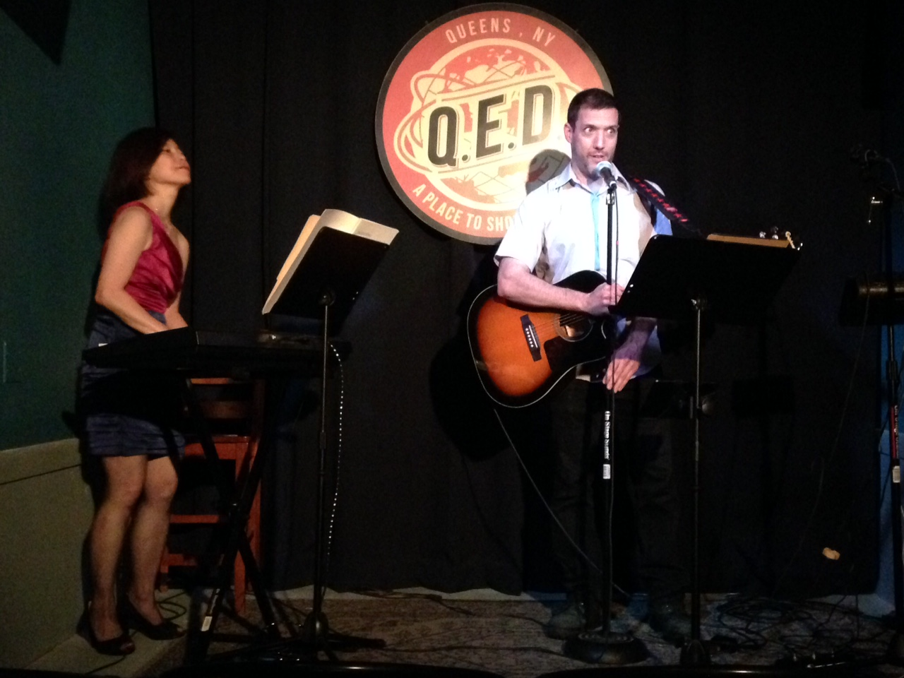 "June 20, 2015:   Nancy Kito, keyboard and Rob Paravonian, guitar,  ""Don't Feed the Musicians"" show at QED Astoria."