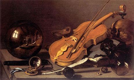 Pieter Claesz:  Vanitas with Violin and Glass Ball (c. 1628)