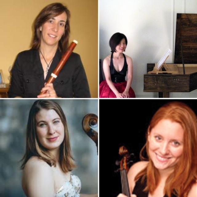 Susan Graham (flute), Nancy Kito (harpsichord), Sarah Stone, cello, Claire Smith Bermingham, violin