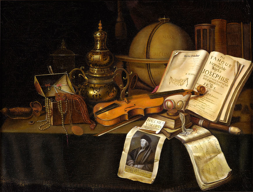 Still Life with Jewels, Musical Instruments and Globe (Anonymous) - 1850