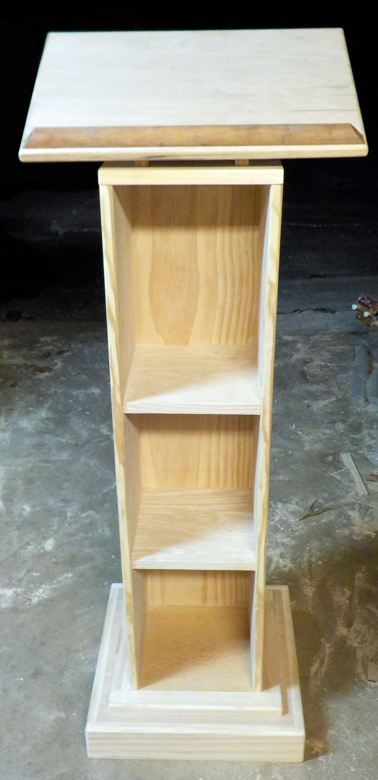 Pine pulpit with mahogany book shelf