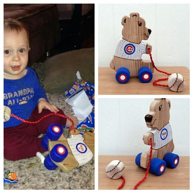 For the little Chicago Cubs fan's first birthday, something uniquely special! Pine bear, hand painted with wooden baseball teether/knob.