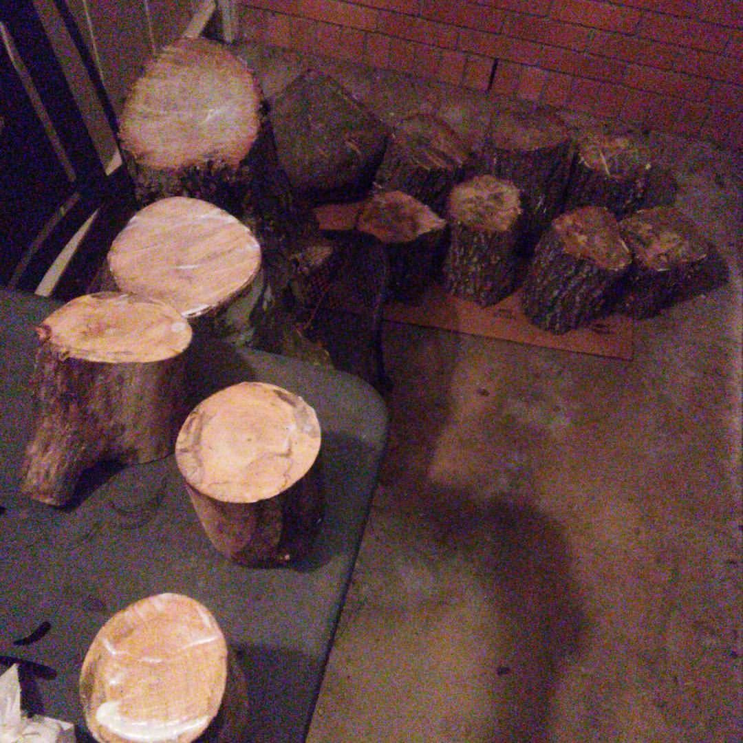 We're seasoning some recently cut logs of Holley and Chinese Tallow. Eventually we'll give them a spin on the lathe.