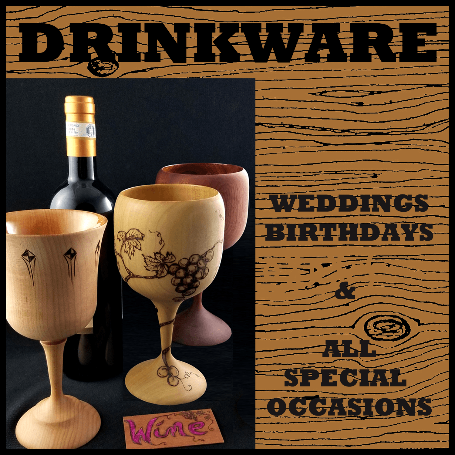 Customized wooden wine, champagne, cordial goblets for special occasions.