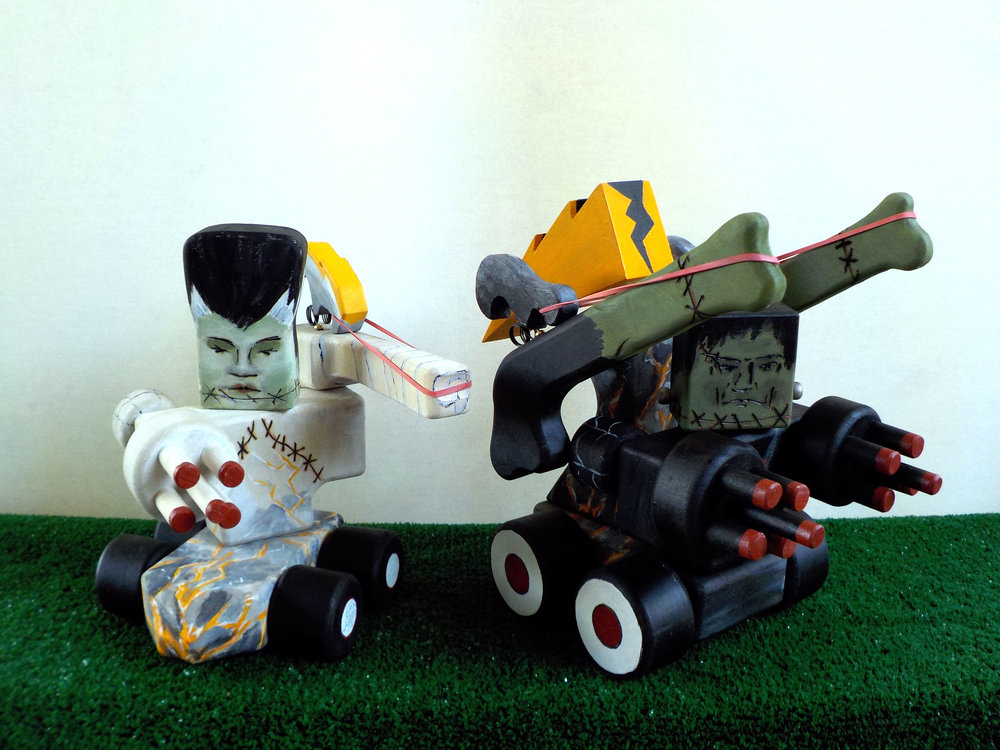 The Frankenstein's are here to destroy in the form of rubber band shooting tank robots.