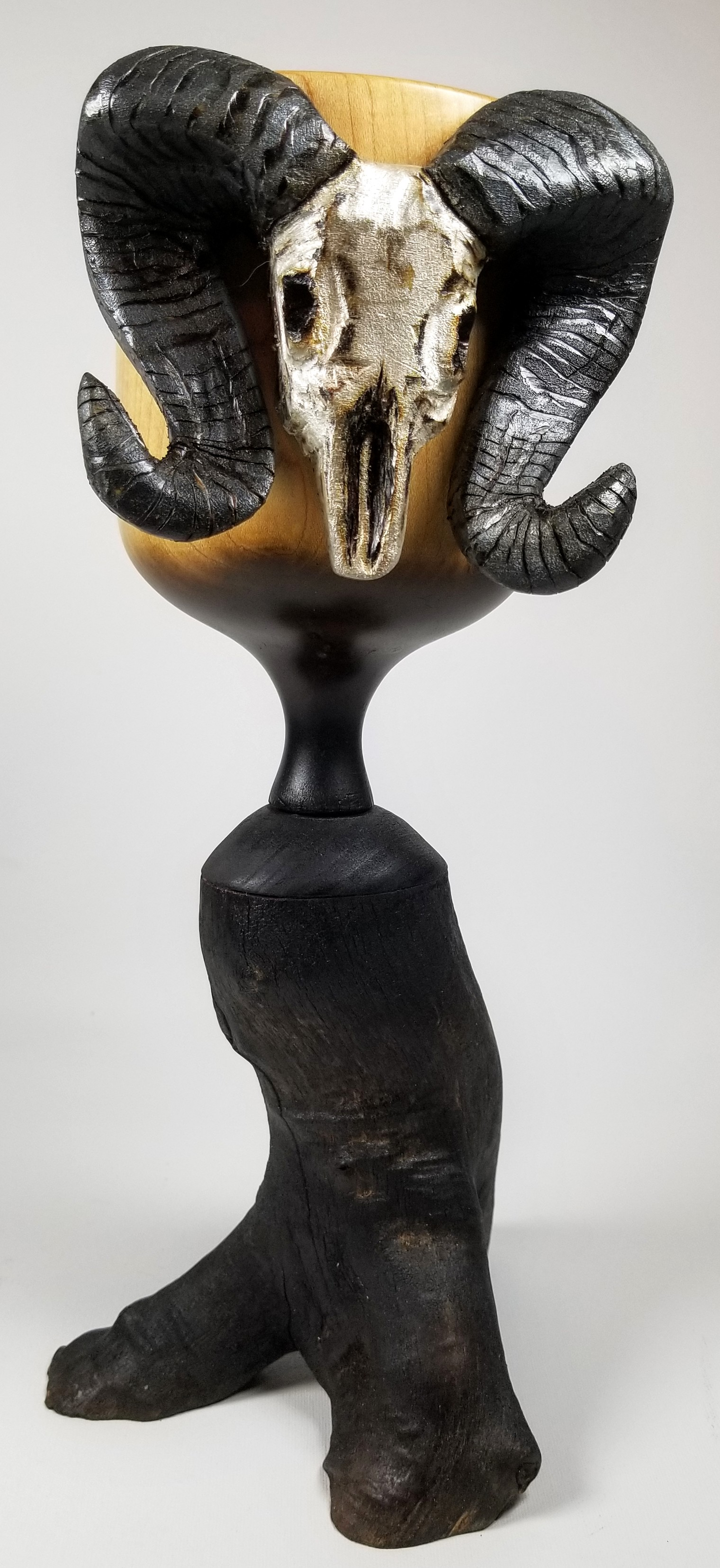 Carved painted and pyrographed ram skull goblet!