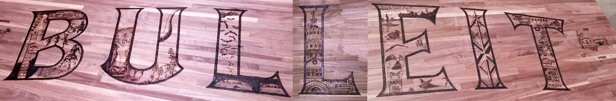 Proud to have illustrated some of our favorite aspects of this great city, pyrographic drawing live, during the event, on this 8 foot table top. The table will tour with the party and end up on display at the Kentucky distillery.