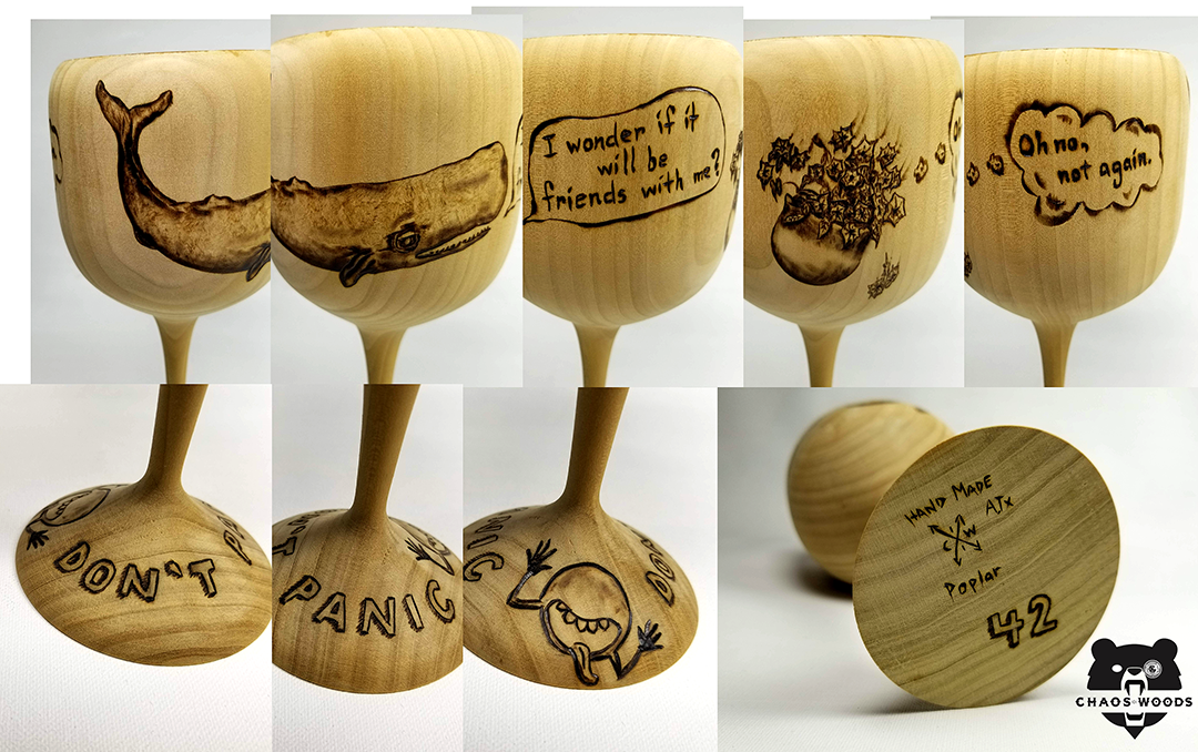 Douglas Adams Hitchhiker's to the Galaxy homage wood burnt goblet.