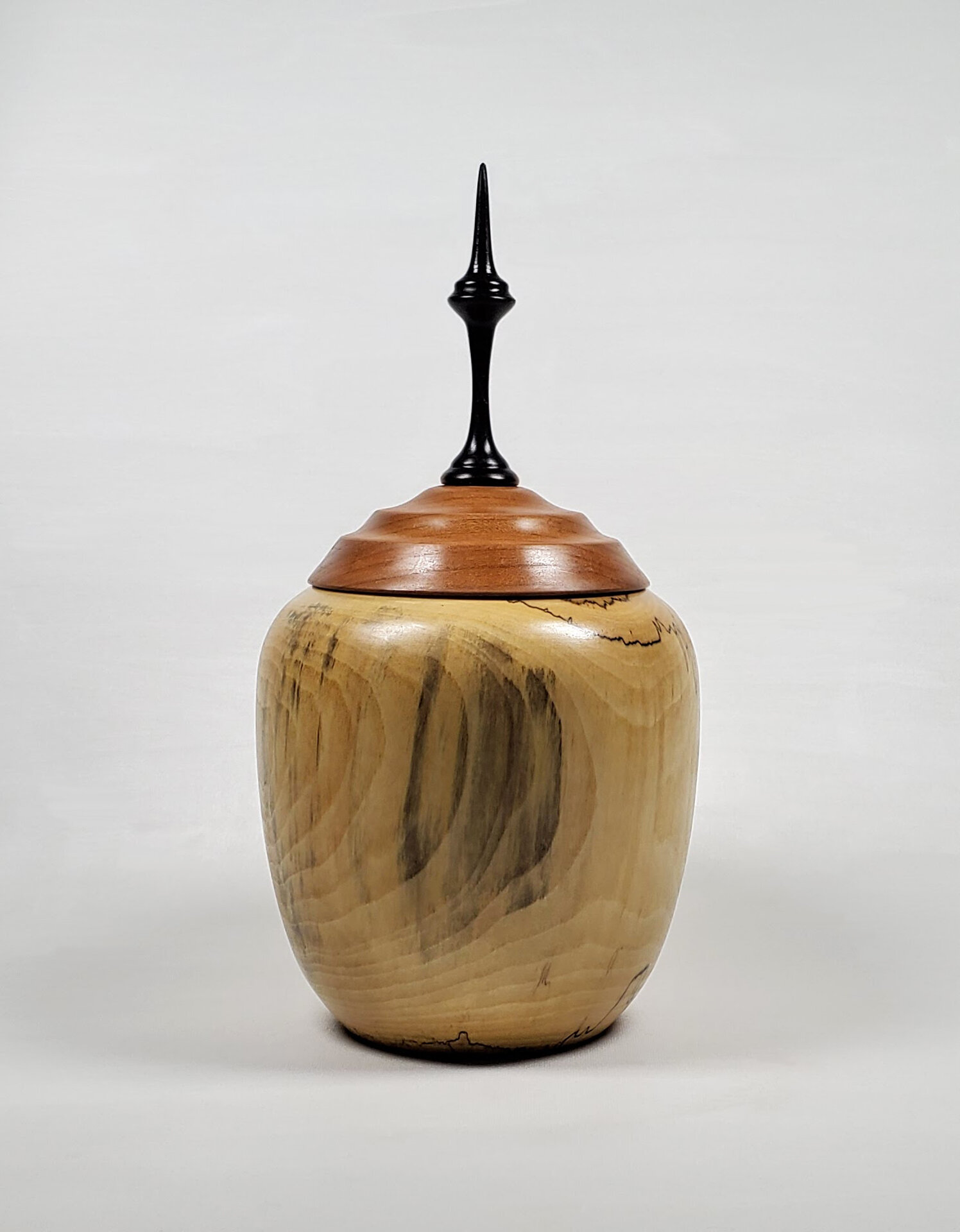 Locally sourced cottonwood vessel with cherry and ebony lid