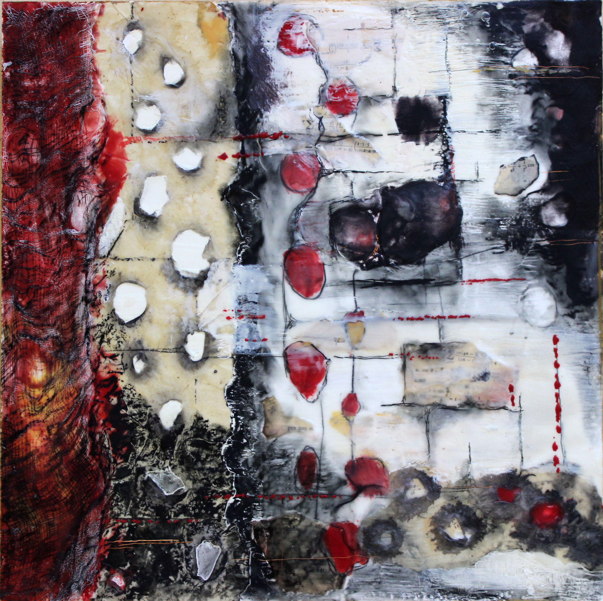 "The Hour Before Dawn, 16"" x 16"", encaustic and mixed media on panel"
