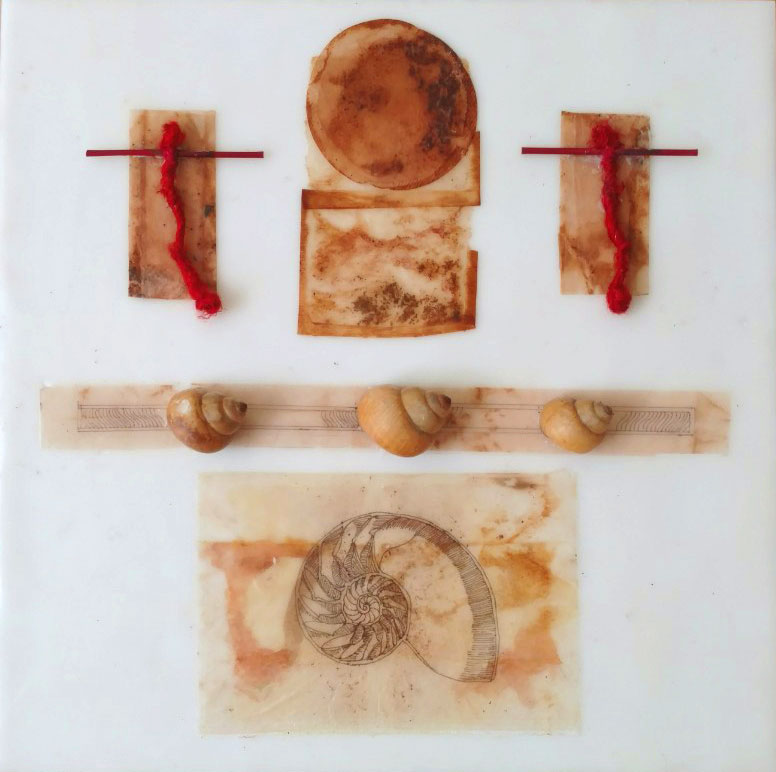 """Meditation Series - The Golden Spiral"", encaustic & mixed media on panel, 12 x 12"""