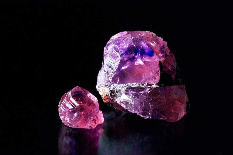 Winza gem ruby rough. The small gem crystal measures 6 mm.