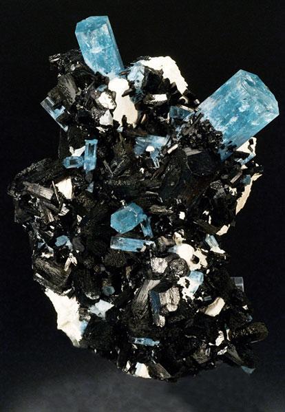 Pala International's large aquamarine and tourmaline cluster 20 cm, Erongo, Namibia.