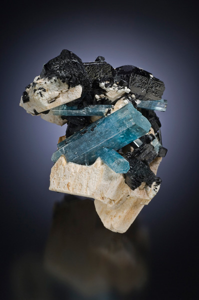 Namibian aquamarine with schorl tourmaline, 12.5 cm. This Palaminerals.com specimen now is in the Ron Gladnick Collection.
