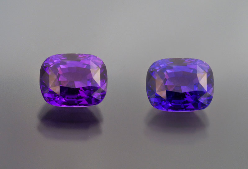 Matched pair of purple sapphires, Ilakaka, Madagascar. Total weight 10+ carats.