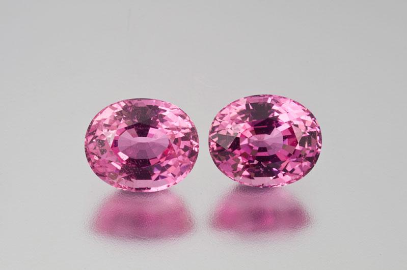 Pala International's beautiful matched (heated) pink sapphires from Ilakaka.