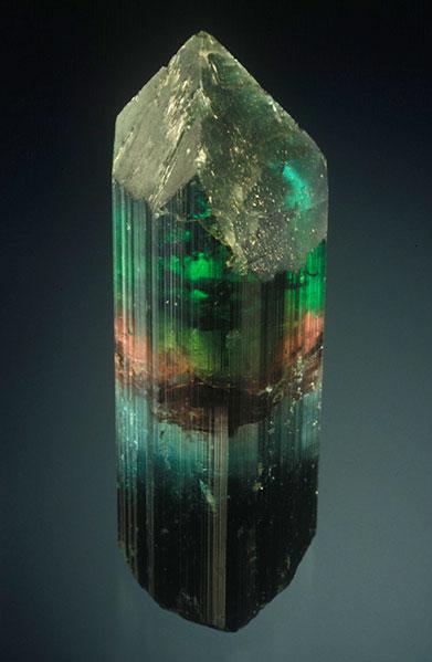 Elbaite, Alto Ligonha, Mozambique, 7.8 cm high, Collection of William Larson.