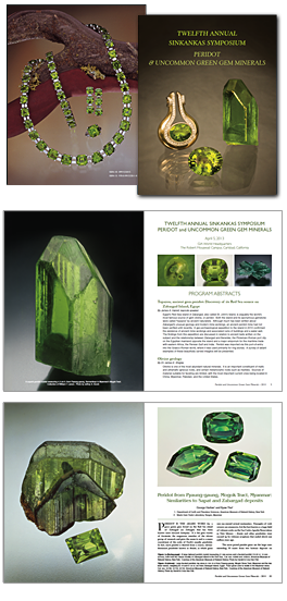 The proceedings from select previous sympsosia are available. Pictured above are the cover and pages from as last year's symposium, held on the topic of Peridot and Uncommon Green Gem Minerals.   See details here.
