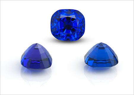 Pleochroism in a 15-carat tanzanite as seen with the naked eye through the crown, side and end. (Photos: Wimon Manorotkul)