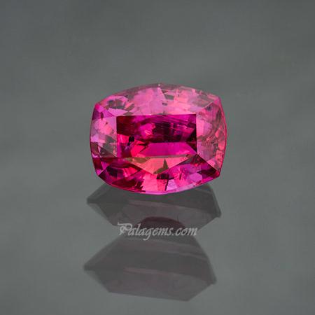Pink ruby , 2.51 carats, cushion cut, unenhanced, 8.48 x 6.88 x 5.07 mm. Inventory  #22464 . (Photo: Mia Dixon)