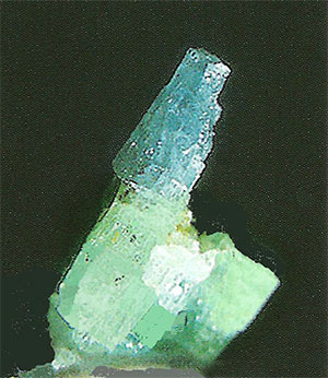 Figure 4.  Marvel of a blue-and-green beryl crystal from the Binn Valley, Valais, Switzerland. Total length approximately 8 mm. Emerald and Aquamarine? (Photo: M. Krzemnicki)