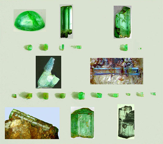 Figure 5.  Selection of transparent green to translucent brownish-green emerald XX and one transparent blue aquamarine crystal from Feldbach, Binn Valley, Valais, Switzerland. Inserts : (top left) emerald cabochon and single X , collection A. Frey, (top right) single X, collection G. Bosshart. (bottom) Fractured greenish beryl X on quartz matrix, infiltrated by Fe hydroxides. Largest single crystal, 0.42 ct. Emerald X showing multi-phase inclusions (l,g and several solids). Coll. T. Mumenthaler. (centre) Bi-coloured green and blue beryl crystal (left), transparent single X aquamarine on quartz matrix (right). Assembly by author.  Click  to enlarge.