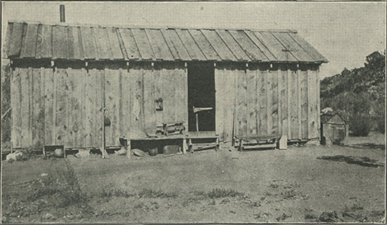 A Mountain Miner's Cabin in Lower California.  Home of Señor Roderiquez—an unusually good building for the locality, as cut lumber has to be freighted over the mountains
