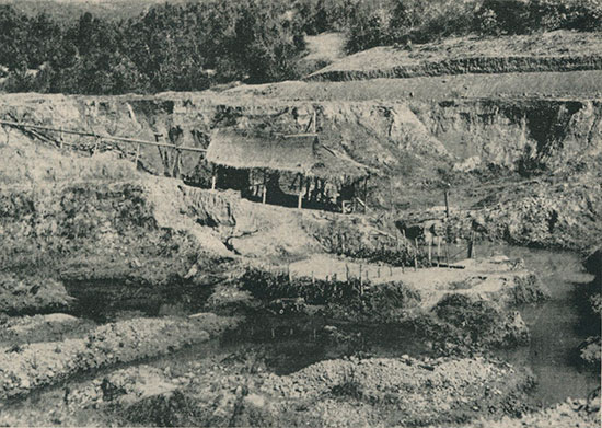 Typical alluvial gem mine in Burma. One of about 1200 in the Mogok area