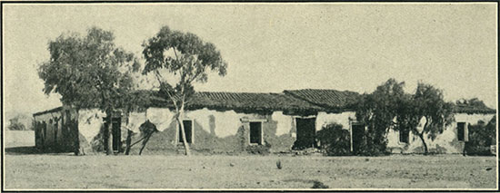 Adobe house at old San Diego, the marriage-place of Ramona, heroine of Helen Hunt Jackson's famous novel. (Photo: Fitch Studio)