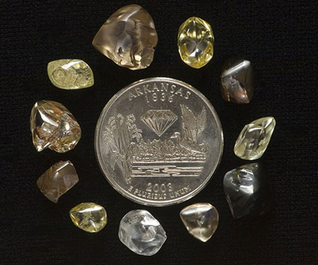 An assortment of diamonds found at the park. (Photo courtesy Arkansas Department of Parks & Tourism)